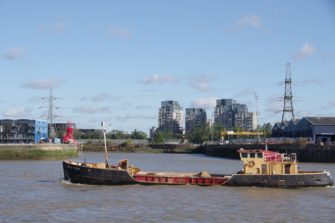 James Prior, has sailed down the Esssex coast from The Colne and is passing Bow Creek, with Essex on the right bank, Middlesex on the left.